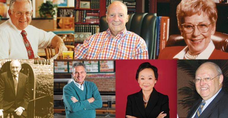 Clockwise from top left Dave Thomas of Wendy39s Norman Brinker of Chili39s Ruth Fertel of Ruth39s Chris Steakhouse Ted Fowler of Golden Corral Corp Peggy Cherng of Panda Restaurant Group Inc Fred DeLuca of Golden Corral Corp and S Truett Cathy of ChickfilA Inc