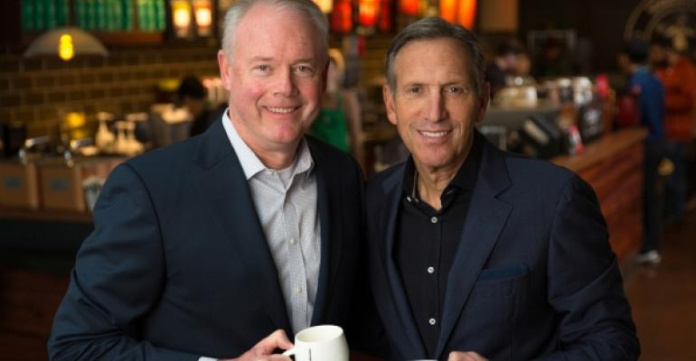 Kevin Johnson left will take over as CEO of Starbucks in April when Howard Schultz becomes executive chairman Photo courtesy of Starbucks