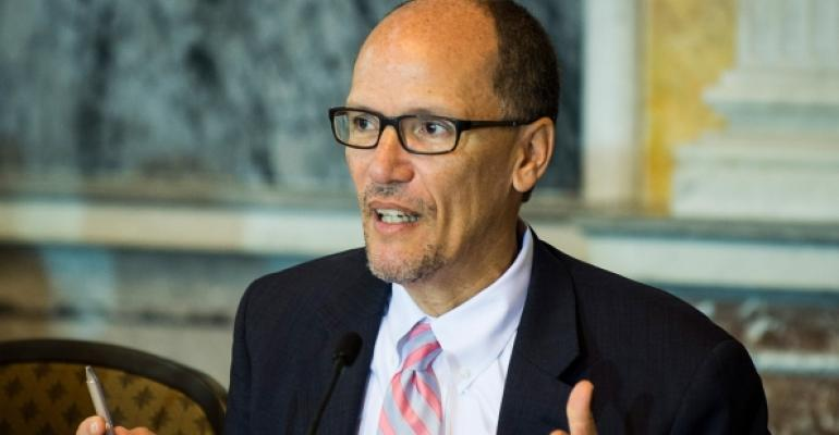 US Department of Labor Secretary Thomas Perez filed a notice of appeal indicating plans to challenge an injunction that put changes to federal overtime regulations on hold Photo Pete MarovichGetty Images