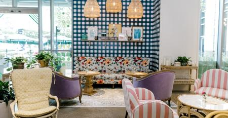 The main seating room at the newest location of fast-casual Flower Child in Dallas, Texas, operated by Sam Fox and Fox Restaurant Concepts