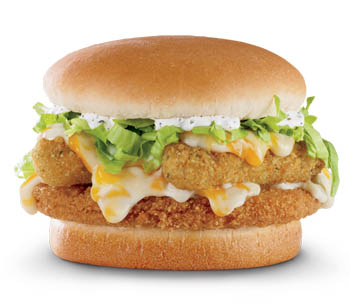The Exploding Cheesy Chicken Sandwich ­has mozzarella cheese sticks and gooey white cheese sauce.