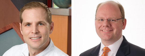 From left: Neville Craw, Arby's corporate executive chef and director of product development, and Len Van Popering, Arby's senior vice president of product development and innovation