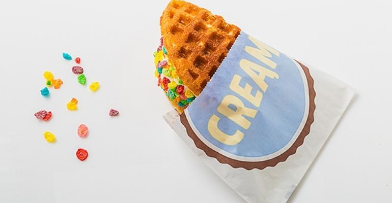 Cream Waffle Ice Cream Sandwich