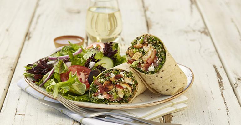 Luna Grill spring salad wrap