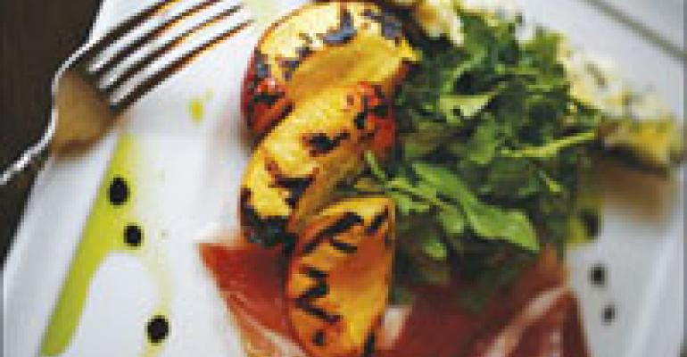 Dish Of The Week: Peaches with Cabrales crostini