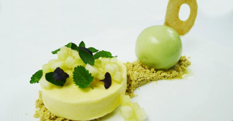 White chocolate semifreddo and green apple wasabi sorbet