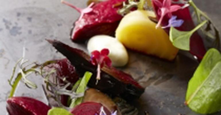 Ash roasted beets with sorrel yogurt and puffed rice