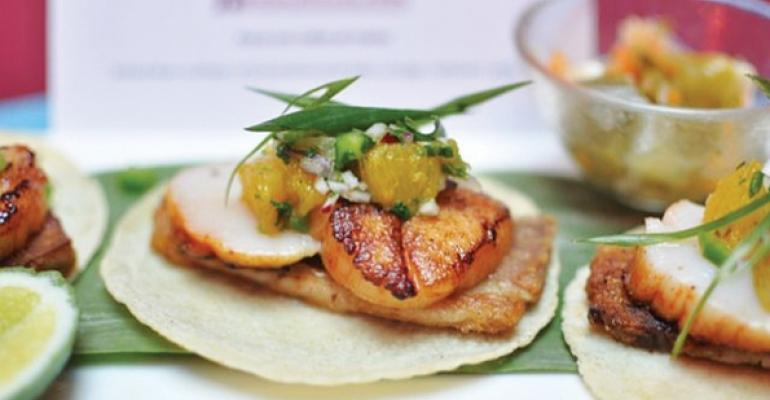 Rosa Mexicano Pork Belly and Scallops Taco