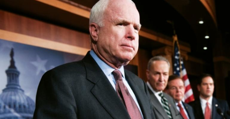 Sens John McCain Charles Schumer Robert Menendez and Marco Rubio