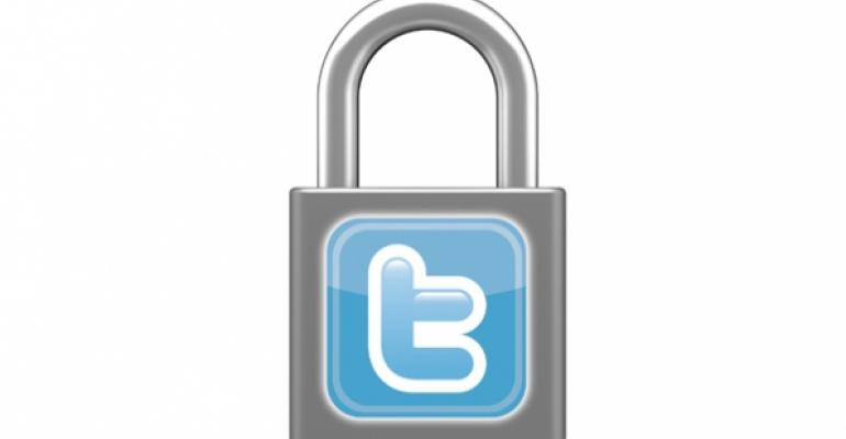 Padlock with Twitter icon
