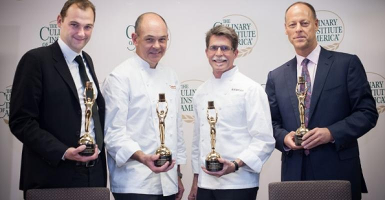 From left Award winners Daniel Humm Clifford Pleau Rick Bayless and Walter Ro