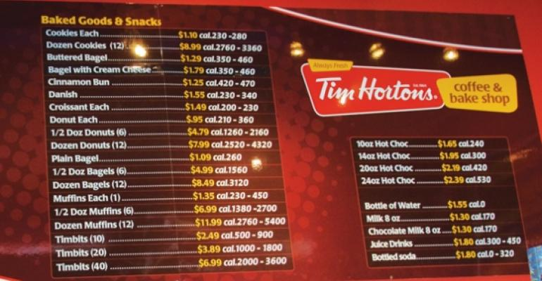 Tim Hortons menu board