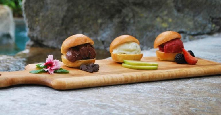 A trio of ice cream sliders is on offer at The Grand Cascades Lodge at Crystal Springs Resort in Hamburg NJ