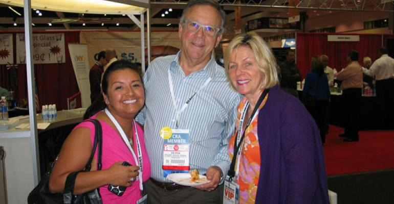 Jennifer Baland former California Restaurant Association staffer left with CRA board members Bob Spivak of Grill Concepts Inc and Madelyn Alfano of Marias Italian Kitchen