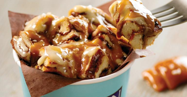 Cinnabons Center of the Roll dessert features ontrend salted caramel
