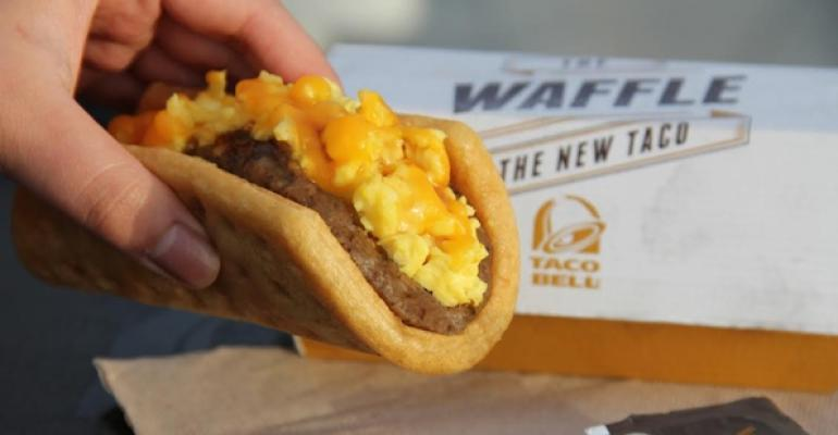 Taco Bells Waffle Taco with sausage