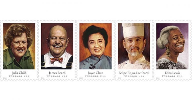Featured food personalities from left Julia Child James Beard Joyce Chen Felipe RojasLombardi Edna Lewis