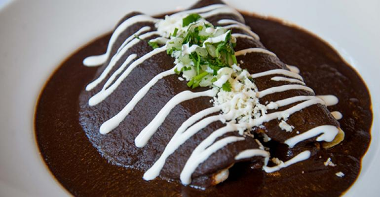 The Enchiladas Mole Poblano are a special on Rosa Mexicano39s 30th anniversary Desde 1984 menu