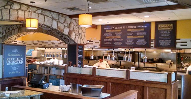Restaurant Kitchen Counter romano's macaroni grill debuts fast-casual lunch format | nation's