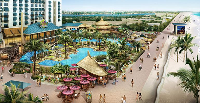 Rendering of new flagship resort in Hollywood Fla south view from beach