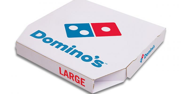 Dominorsquos pizza box with new logo