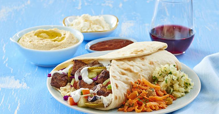 Yalla Mediterraneanrsquos Steak Wrap with Greek Potato Salad and Moroccan Carrot Salad