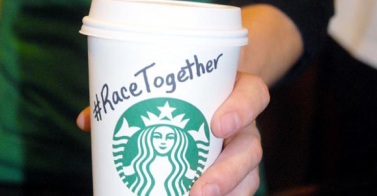 Starbucks baristas were told they could stop writing ldquoRace Togetherrdquo or placing stickers on coffee cups which was meant to encourage conversations about race