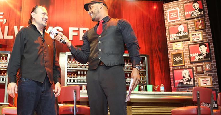 Bartender Alejandro Silva left and emcee Phil Wills a former World Bartender Championship competitor