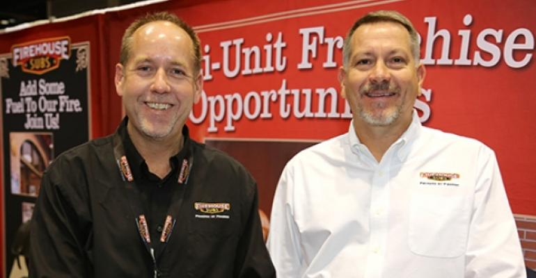 Brent Greenwood left and Chris Eby both senior managers for franchise development for Firehouse Subs