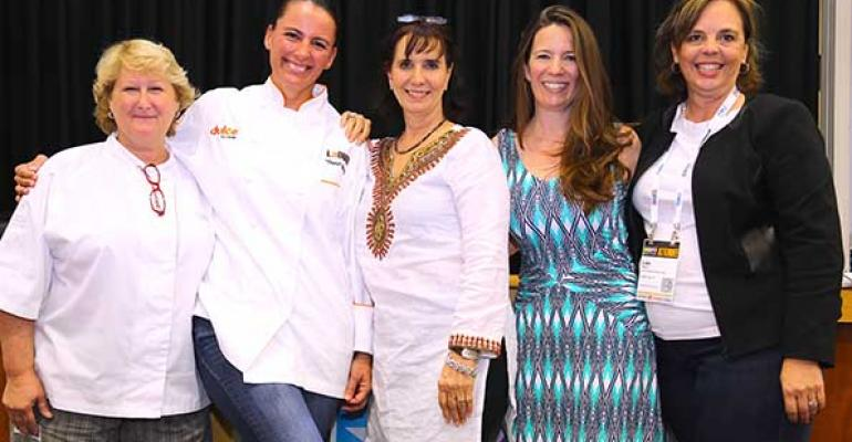 Panelists from left Sharon Von Meter Dunia Borga Nancy Nichols Carrie Kelleher and Lisa Perini