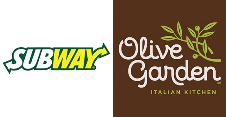 Subway, Olive Garden top midyear 'buzz' rankings