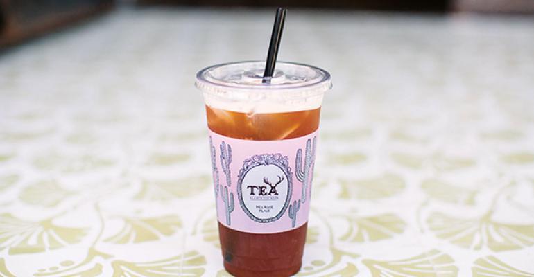 Iced tea bubbles up beside soda