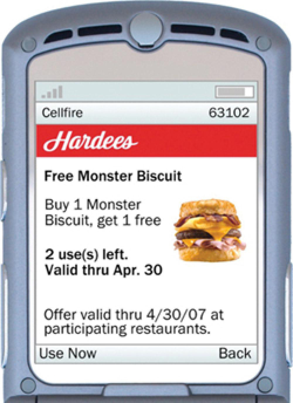 Hardee's connects with mobile device users, offers discounts