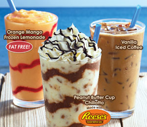 Cinnabon's Reese's Peanut Butter Cup Chillatta, Orange Mango Frozen Lemonade and Vanilla Iced Coffee