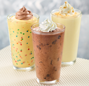 Clockwise from upper right: Zaxby's new Banana Pudding, Chocolate Cookie and Birthday Cake milkshakes.