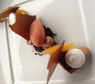 One of Thomas' fall desserts showcasing chocolate and citrus