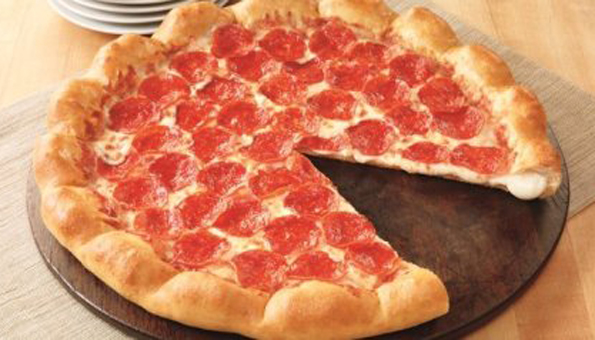 Pizza Hut's 3-Cheese Stuffed Crust pizza was accompanied by a television ad campaign
