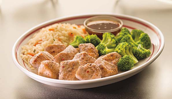 Frindly's turkey tips with broccoli and rice pilaf