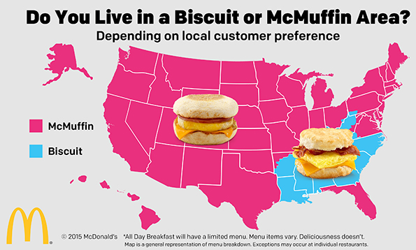 Map McDonalds Allday Breakfast Pits McMuffins Against Biscuits - Maps of us mcdonals locations